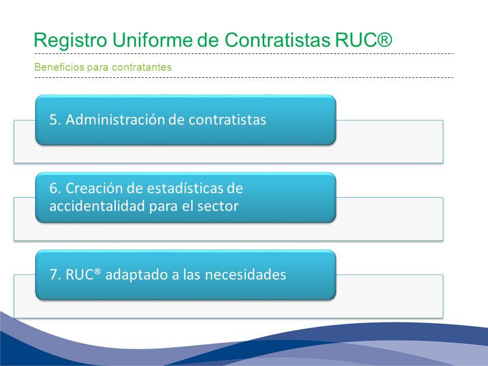 Registro Uniforme de Contratistas RUC® Beneficios para contratantes 5. Administración de contratistas 6. Creación de estadísticas de accidentalidad pa