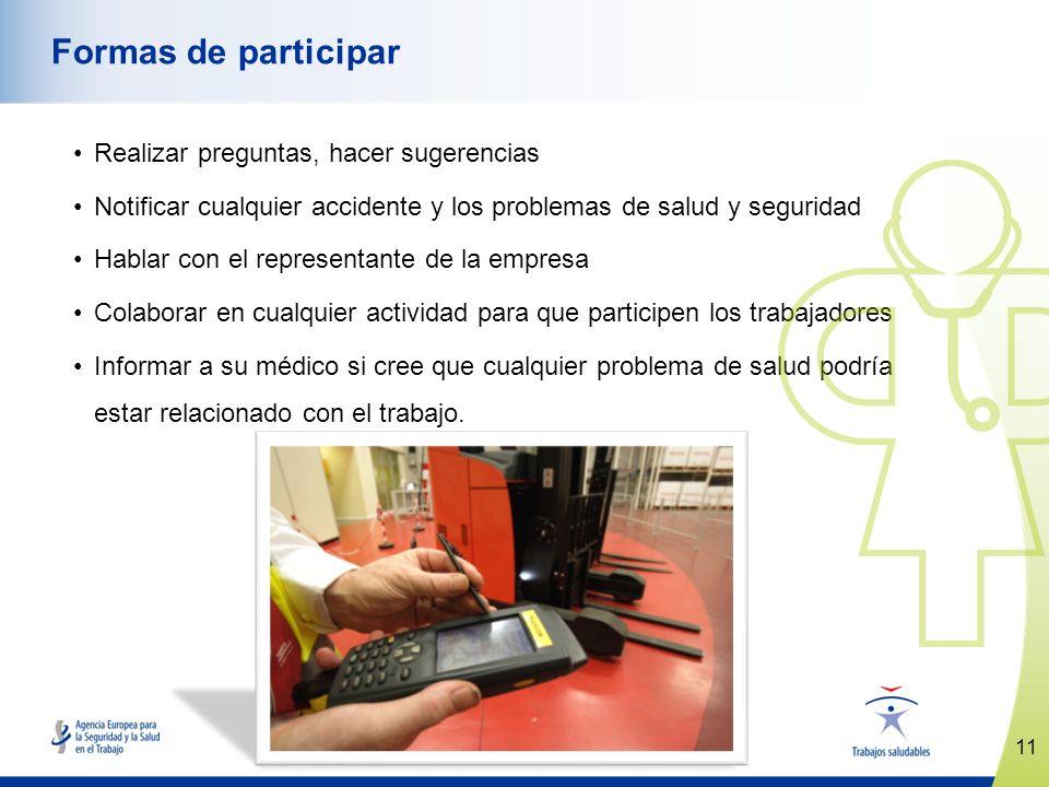 11 www.healthy-workplaces.eu Formas de participar Realizar preguntas, hacer sugerencias Notificar cualquier accidente y los problemas de salud y segur