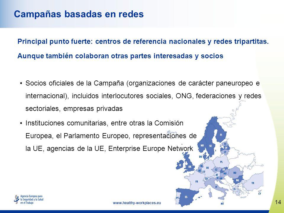 14 www.healthy-workplaces.eu Campañas basadas en redes Principal punto fuerte: centros de referencia nacionales y redes tripartitas. Aunque también co