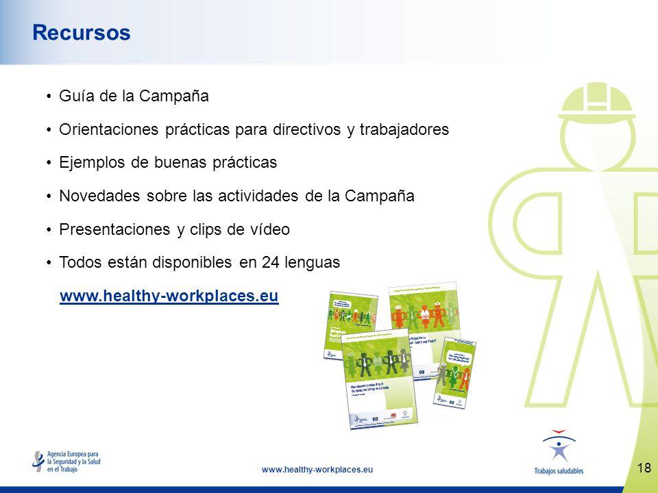 18 www.healthy-workplaces.eu Recursos Guía de la Campaña Orientaciones prácticas para directivos y trabajadores Ejemplos de buenas prácticas Novedades