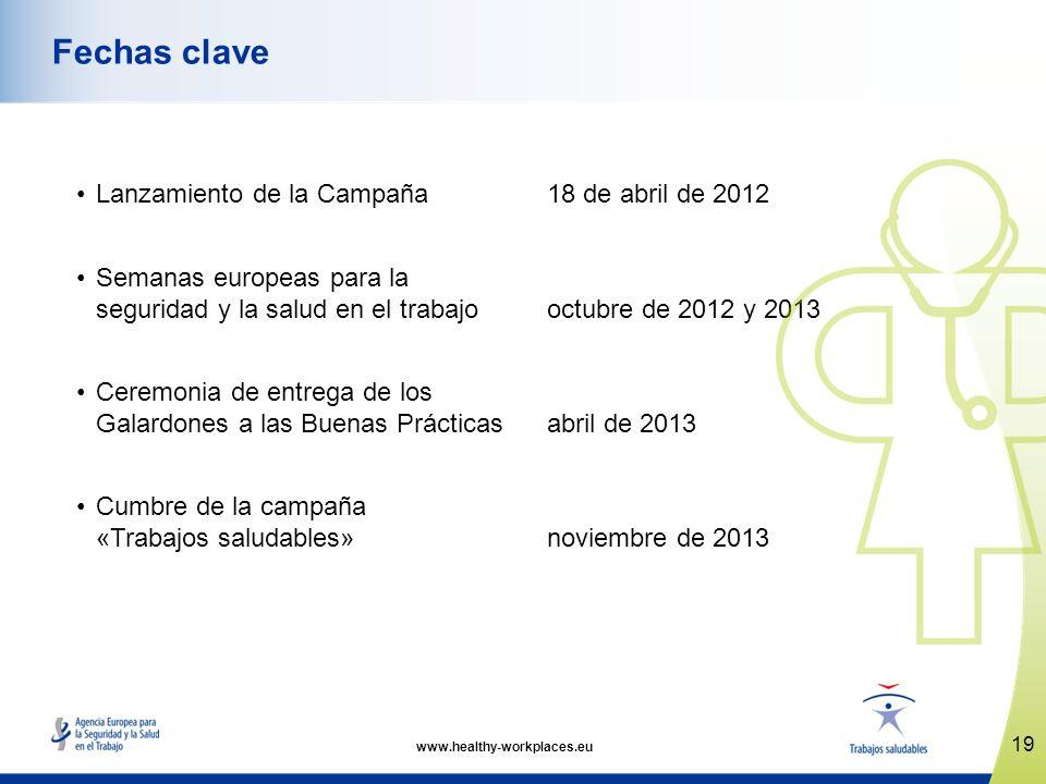 Lanzamiento de la Campaña18 de abril de 2012 Semanas europeas para la seguridad y la salud en el trabajo octubre de 2012 y 2013 Ceremonia de entrega d