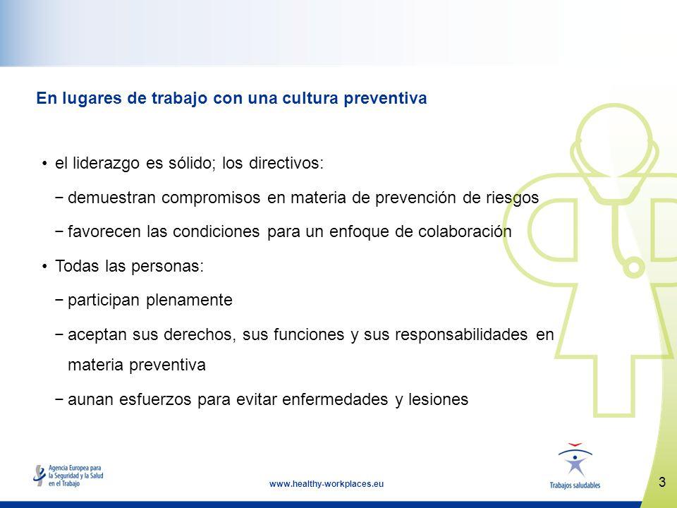3 www.healthy-workplaces.eu En lugares de trabajo con una cultura preventiva el liderazgo es sólido; los directivos: demuestran compromisos en materia