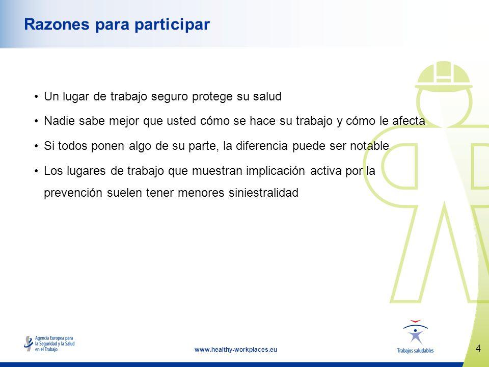 4 www.healthy-workplaces.eu Razones para participar Un lugar de trabajo seguro protege su salud Nadie sabe mejor que usted cómo se hace su trabajo y c