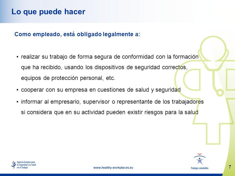 7 www.healthy-workplaces.eu Lo que puede hacer Como empleado, está obligado legalmente a: realizar su trabajo de forma segura de conformidad con la fo