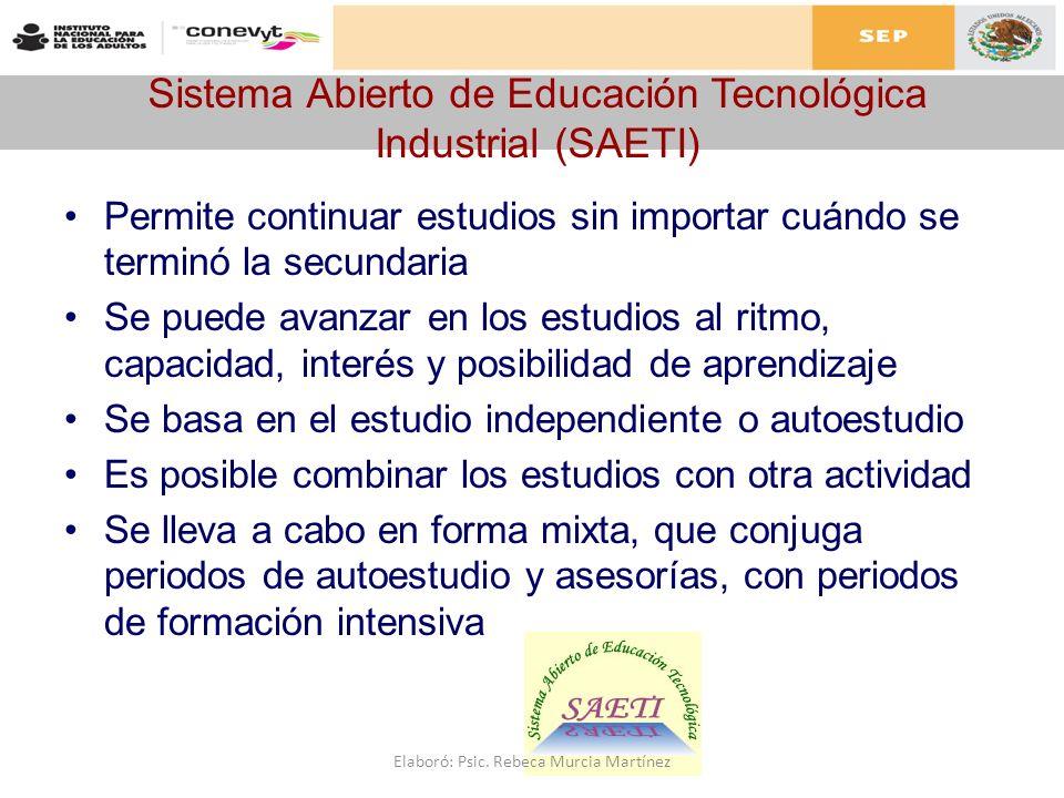 Sistema Abierto de Educación Tecnológica Industrial (SAETI) Permite continuar estudios sin importar cuándo se terminó la secundaria Se puede avanzar e