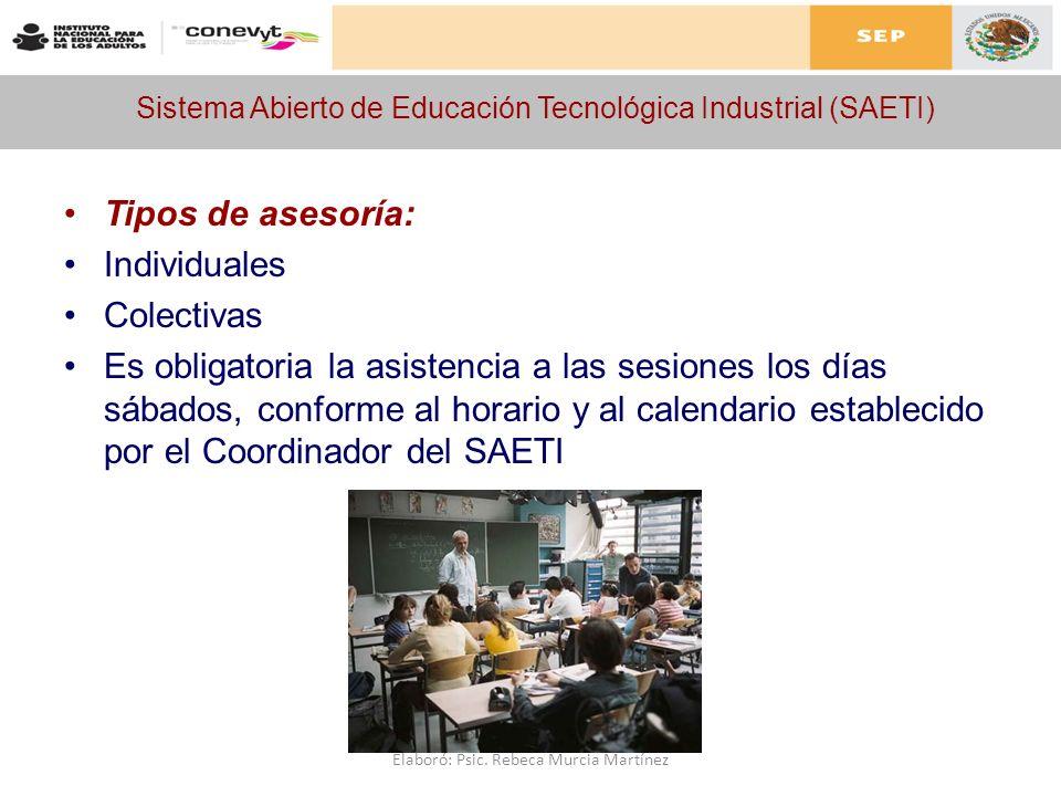 Sistema Abierto de Educación Tecnológica Industrial (SAETI) Tipos de asesoría: Individuales Colectivas Es obligatoria la asistencia a las sesiones los