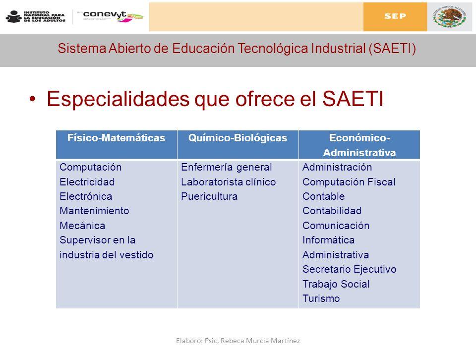 Sistema Abierto de Educación Tecnológica Industrial (SAETI) Especialidades que ofrece el SAETI Físico-MatemáticasQuímico-Biológicas Económico- Adminis