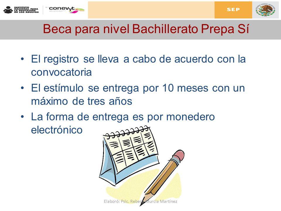 Beca para nivel Bachillerato Prepa Sí El registro se lleva a cabo de acuerdo con la convocatoria El estímulo se entrega por 10 meses con un máximo de