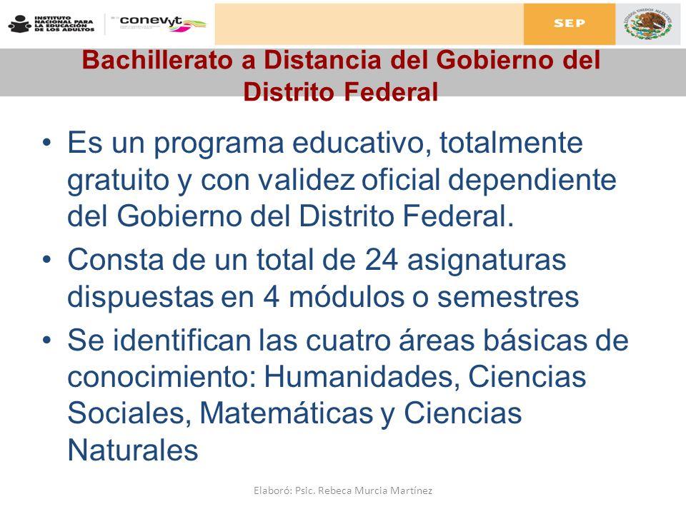 Bachillerato a Distancia del Gobierno del Distrito Federal Es un programa educativo, totalmente gratuito y con validez oficial dependiente del Gobiern