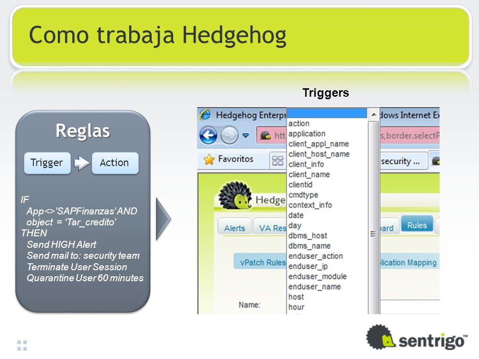 Como trabaja Hedgehog ReglasReglas Trigger Action IF App<>SAPFinanzas AND object = Tar_credito THEN Send HIGH Alert Send mail to: security team Terminate User Session Quarantine User 60 minutes Triggers