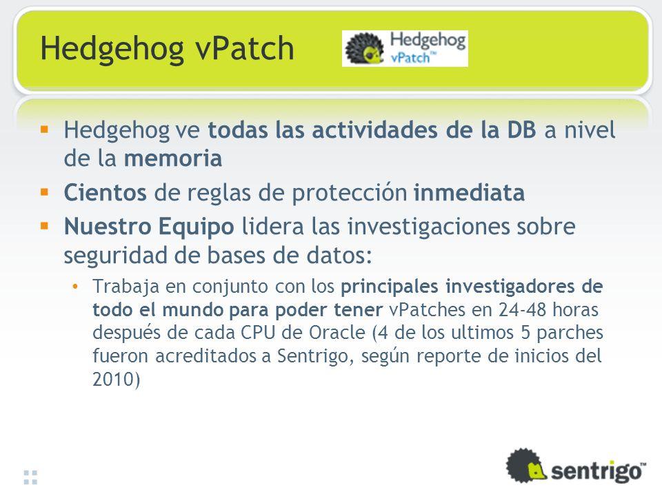 Hedgehog vPatch Hedgehog ve todas las actividades de la DB a nivel de la memoria Cientos de reglas de protección inmediata Nuestro Equipo lidera las i