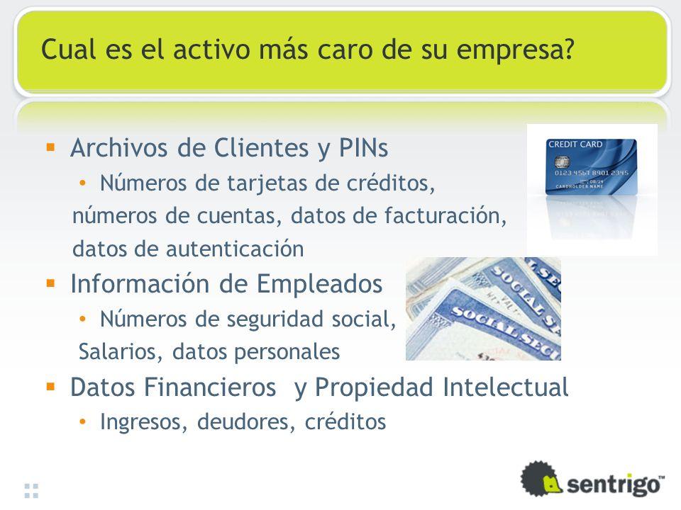 Cual es el activo más caro de su empresa? Archivos de Clientes y PINs Números de tarjetas de créditos, números de cuentas, datos de facturación, datos