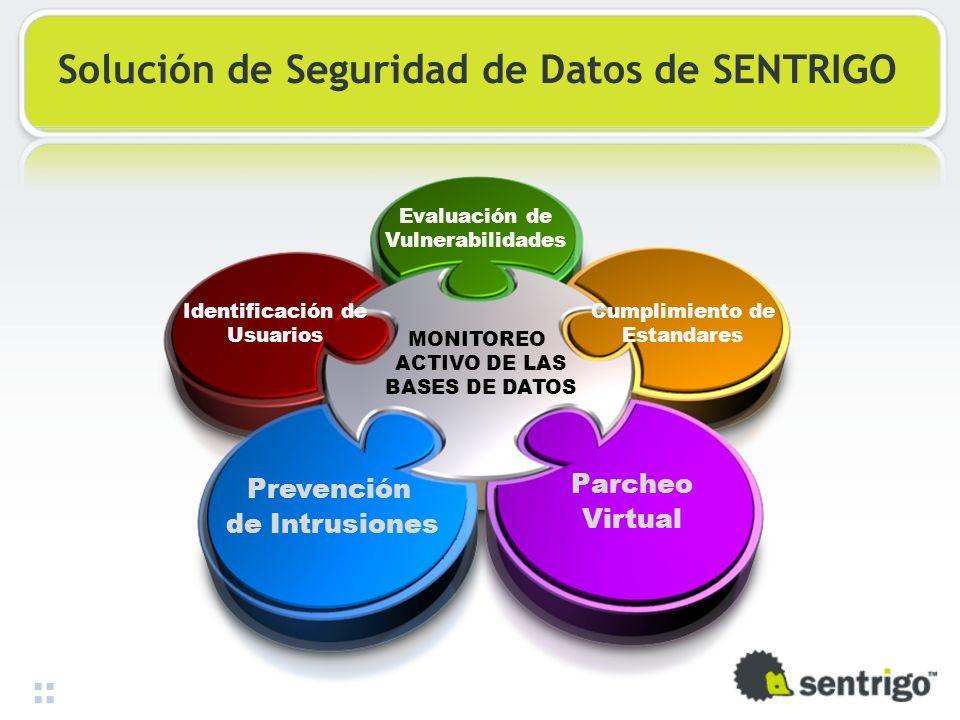 Solución de Seguridad de Datos de SENTRIGO Prevención de Intrusiones Parcheo Virtual Cumplimiento de Estandares Evaluación de Vulnerabilidades Identif