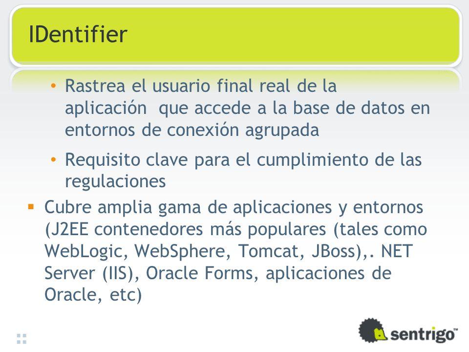 IDentifier Rastrea el usuario final real de la aplicación que accede a la base de datos en entornos de conexión agrupada Requisito clave para el cumpl