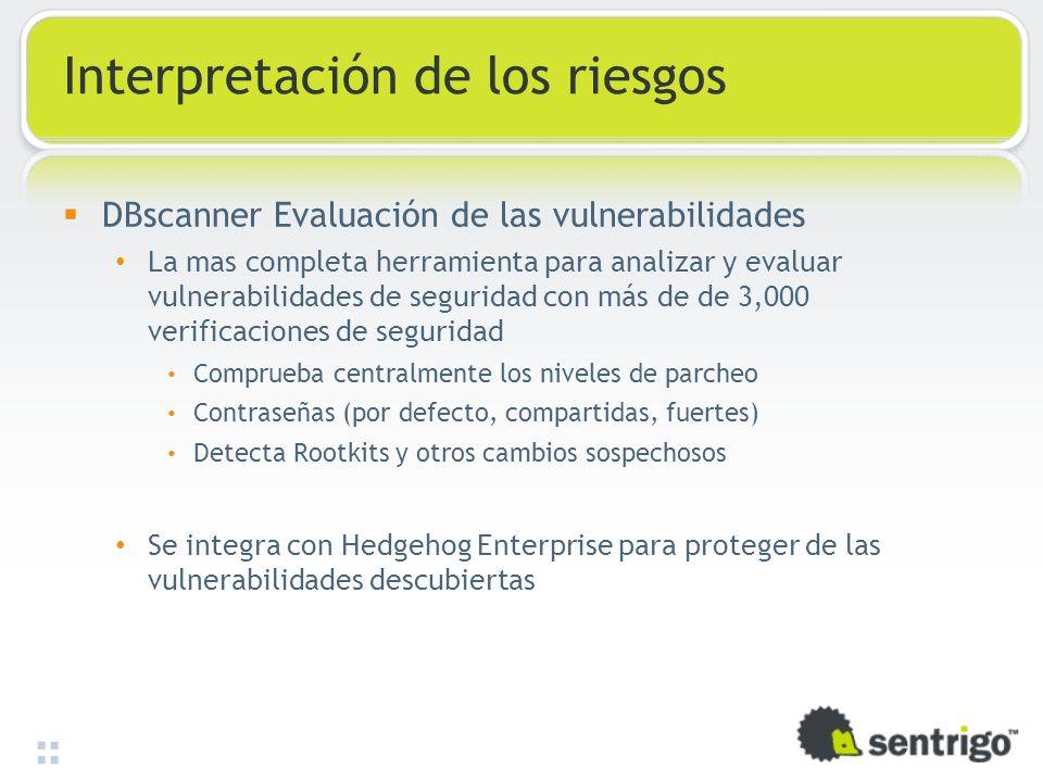 Interpretación de los riesgos DBscanner Evaluación de las vulnerabilidades La mas completa herramienta para analizar y evaluar vulnerabilidades de seg