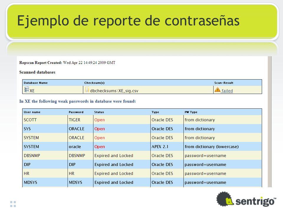 Ejemplo de reporte de contraseñas