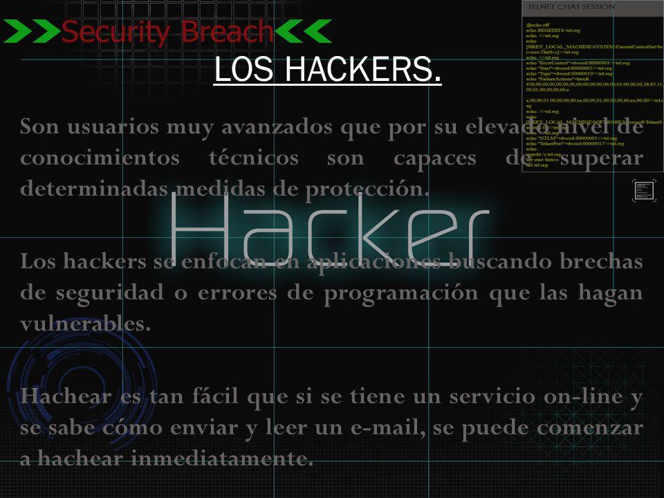 Son usuarios muy avanzados que por su elevado nivel de conocimientos técnicos son capaces de superar determinadas medidas de protección. Los hackers s
