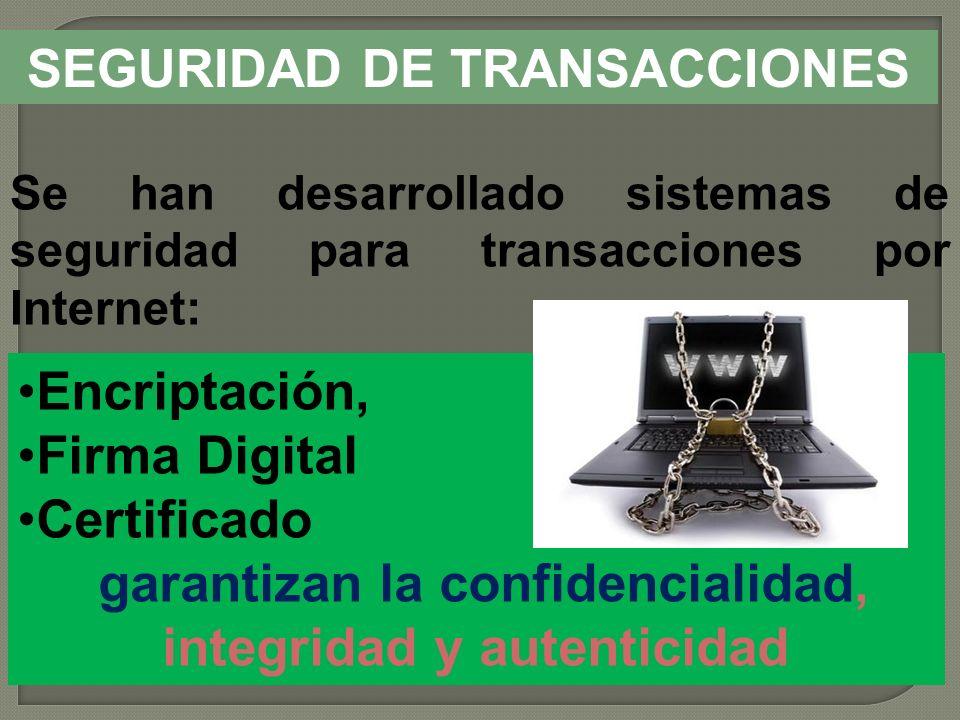 SEGURIDAD DE TRANSACCIONES Se han desarrollado sistemas de seguridad para transacciones por Internet: Encriptación, Firma Digital Certificado garantiz