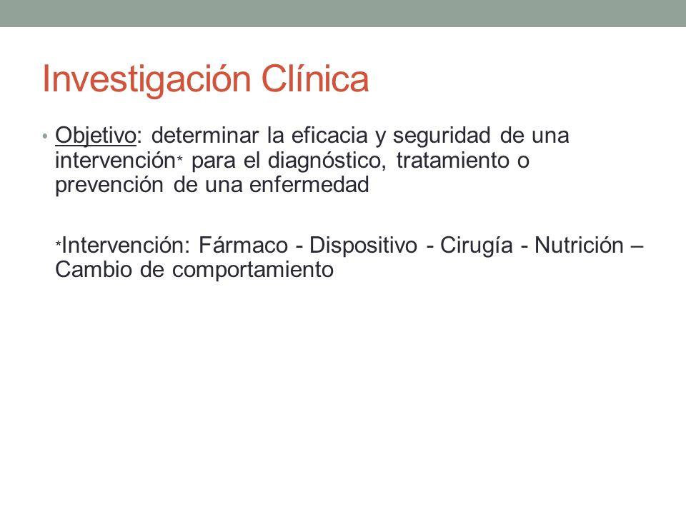 Investigación Clínica Objetivo: determinar la eficacia y seguridad de una intervención * para el diagnóstico, tratamiento o prevención de una enfermed
