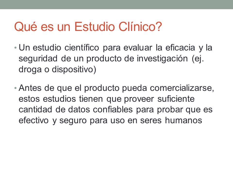 Qué es un Estudio Clínico? Un estudio científico para evaluar la eficacia y la seguridad de un producto de investigación (ej. droga o dispositivo) Ant