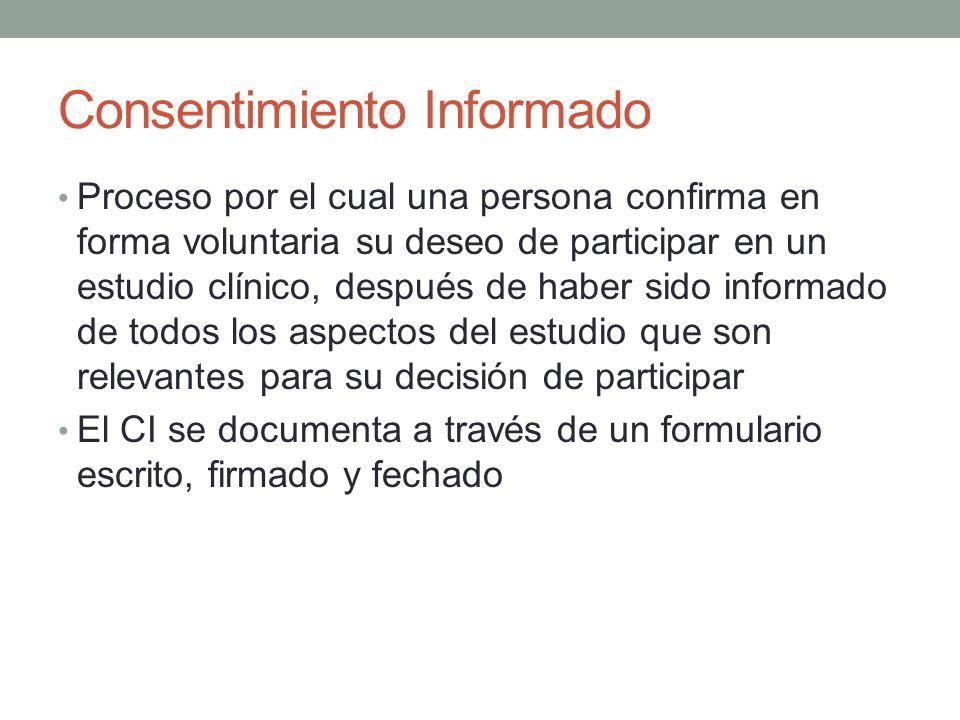 Consentimiento Informado Proceso por el cual una persona confirma en forma voluntaria su deseo de participar en un estudio clínico, después de haber s