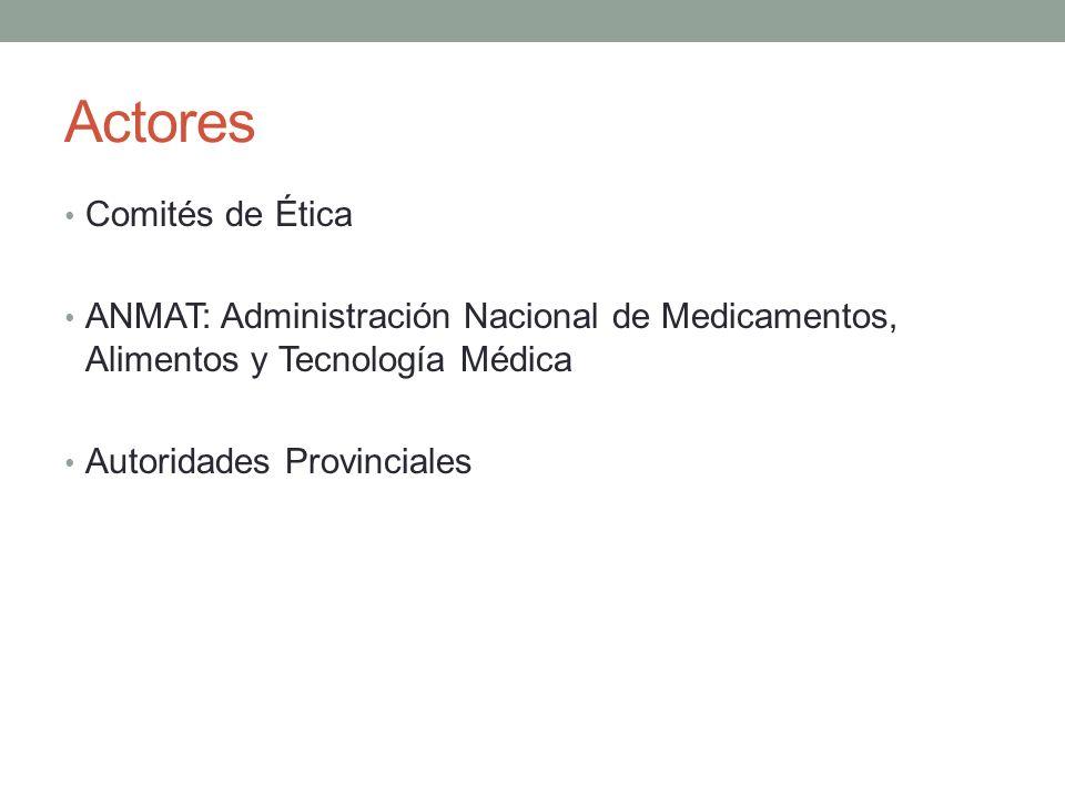 Actores Comités de Ética ANMAT: Administración Nacional de Medicamentos, Alimentos y Tecnología Médica Autoridades Provinciales