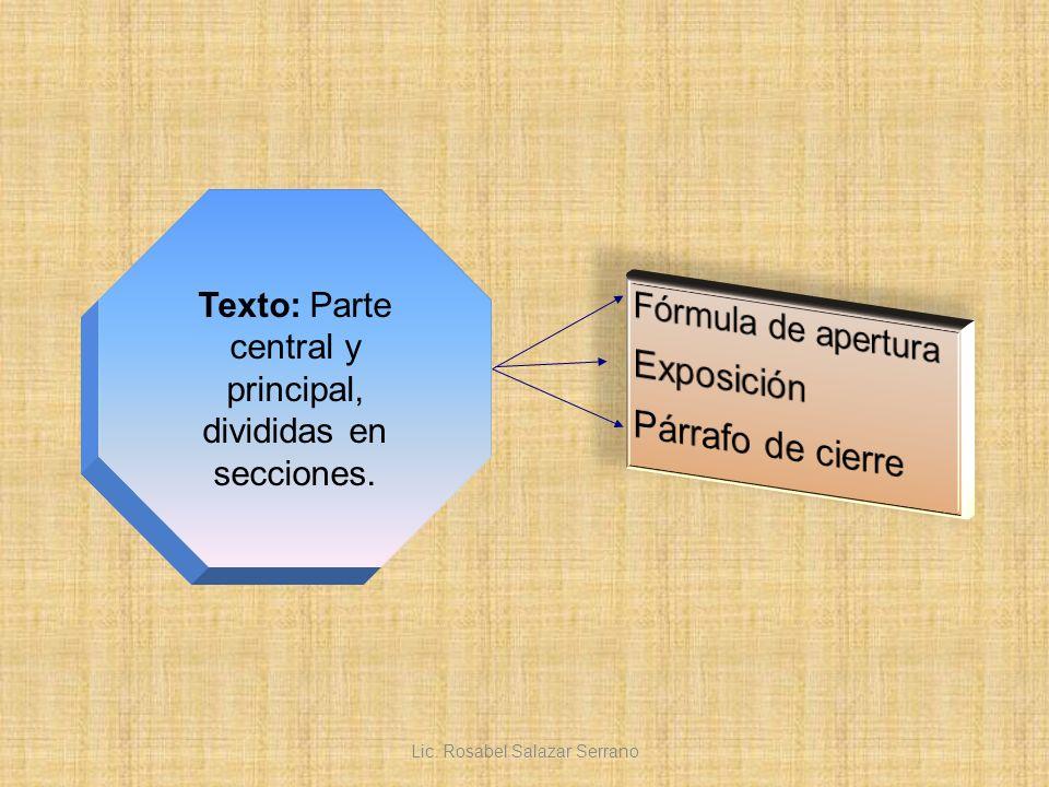 Texto: Parte central y principal, divididas en secciones. Lic. Rosabel Salazar Serrano