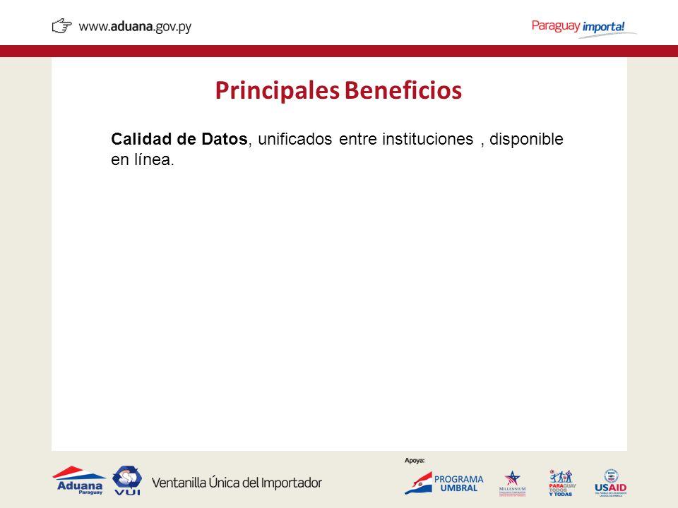 Principales Beneficios Calidad de Datos, unificados entre instituciones, disponible en línea.