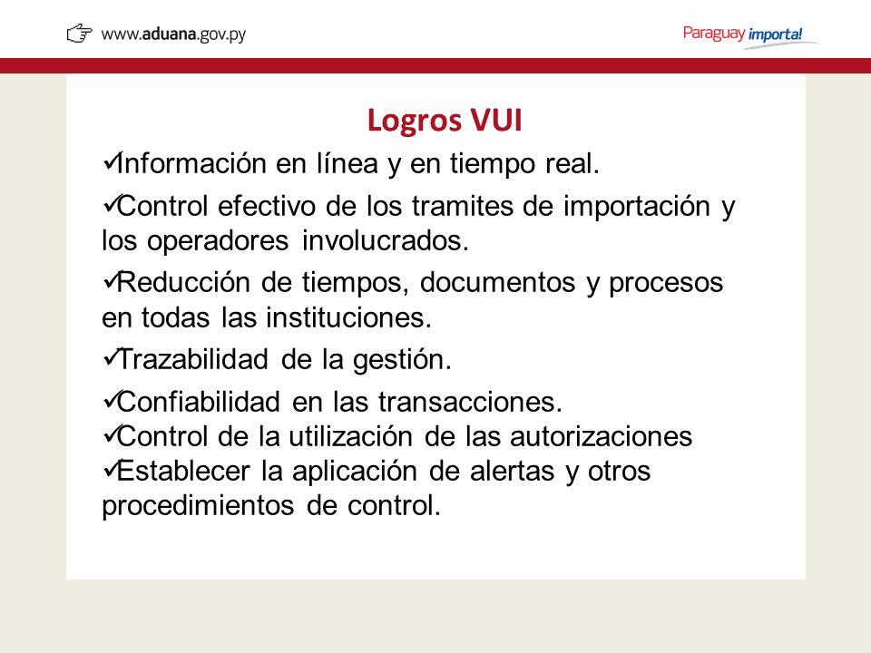 Información en línea y en tiempo real. Control efectivo de los tramites de importación y los operadores involucrados. Reducción de tiempos, documentos