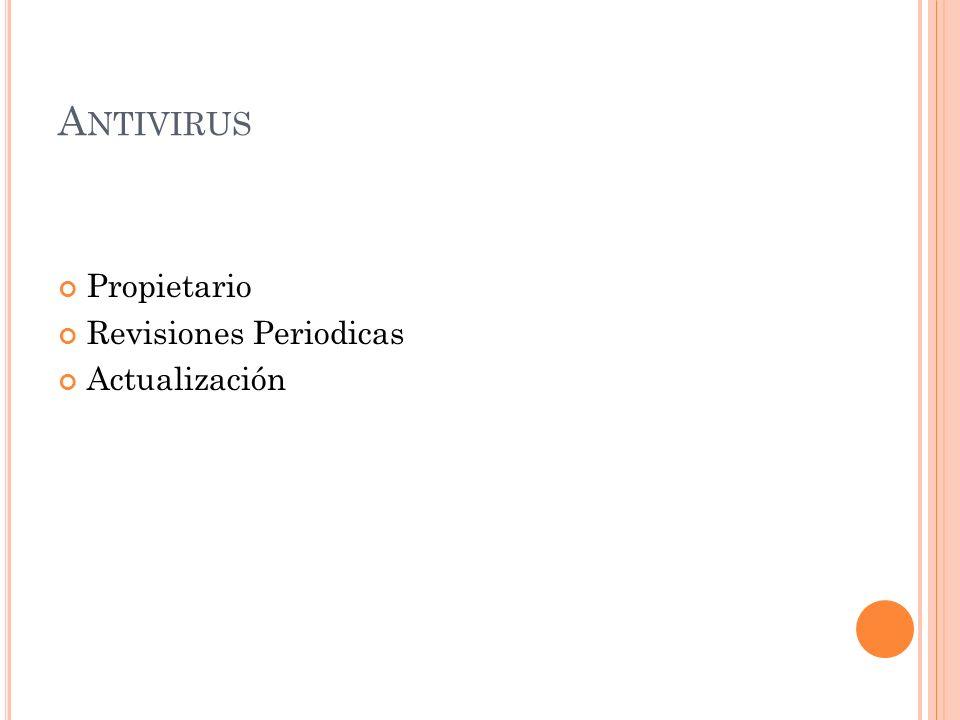 A NTIVIRUS Propietario Revisiones Periodicas Actualización