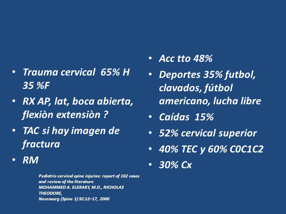 Trauma cervical 65% H 35 %F RX AP, lat, boca abierta, flexiòn extensiòn ? TAC si hay imagen de fractura RM Acc tto 48% Deportes 35% futbol, clavados,