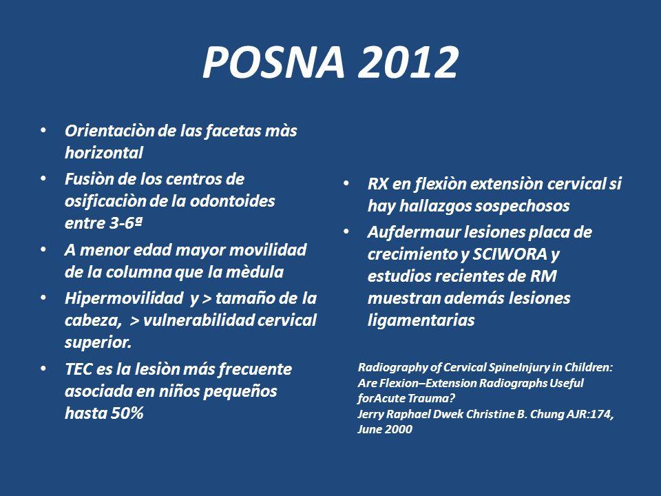 POSNA 2012 Orientaciòn de las facetas màs horizontal Fusiòn de los centros de osificaciòn de la odontoides entre 3-6ª A menor edad mayor movilidad de