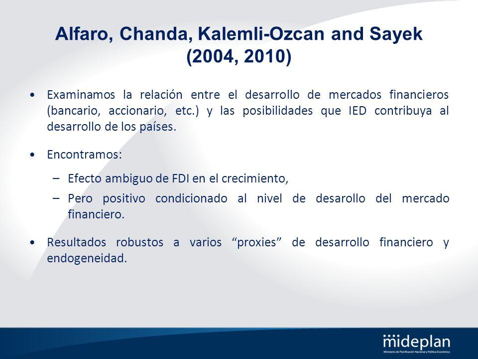 Alfaro, Chanda, Kalemli-Ozcan and Sayek (2004, 2010) Examinamos la relación entre el desarrollo de mercados financieros (bancario, accionario, etc.) y