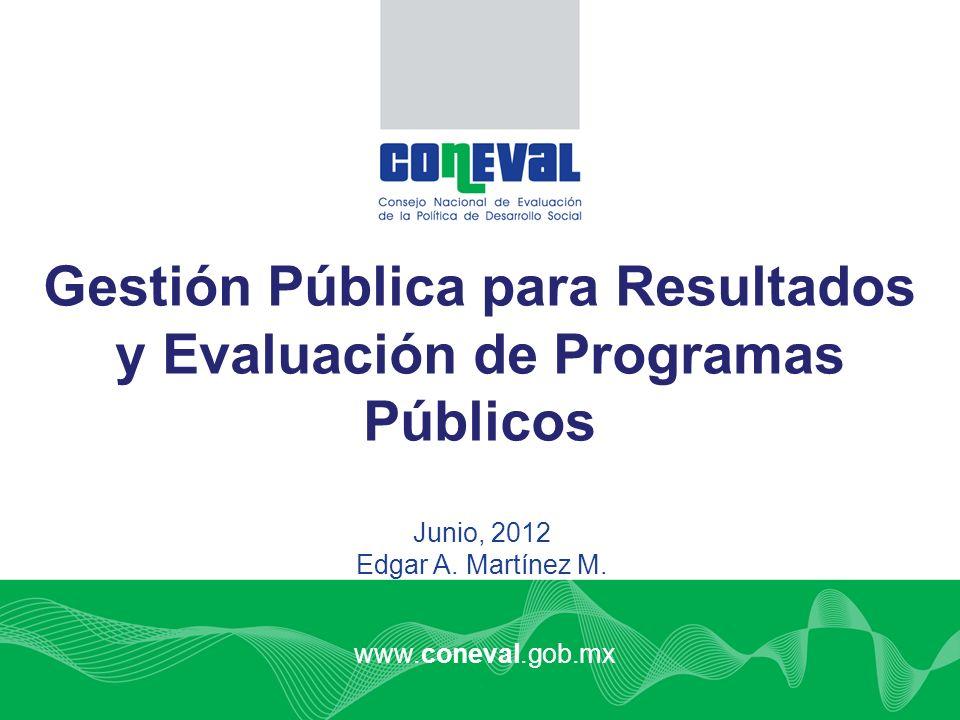 www.coneval.gob.mx Junio, 2012 Edgar A. Martínez M. Gestión Pública para Resultados y Evaluación de Programas Públicos