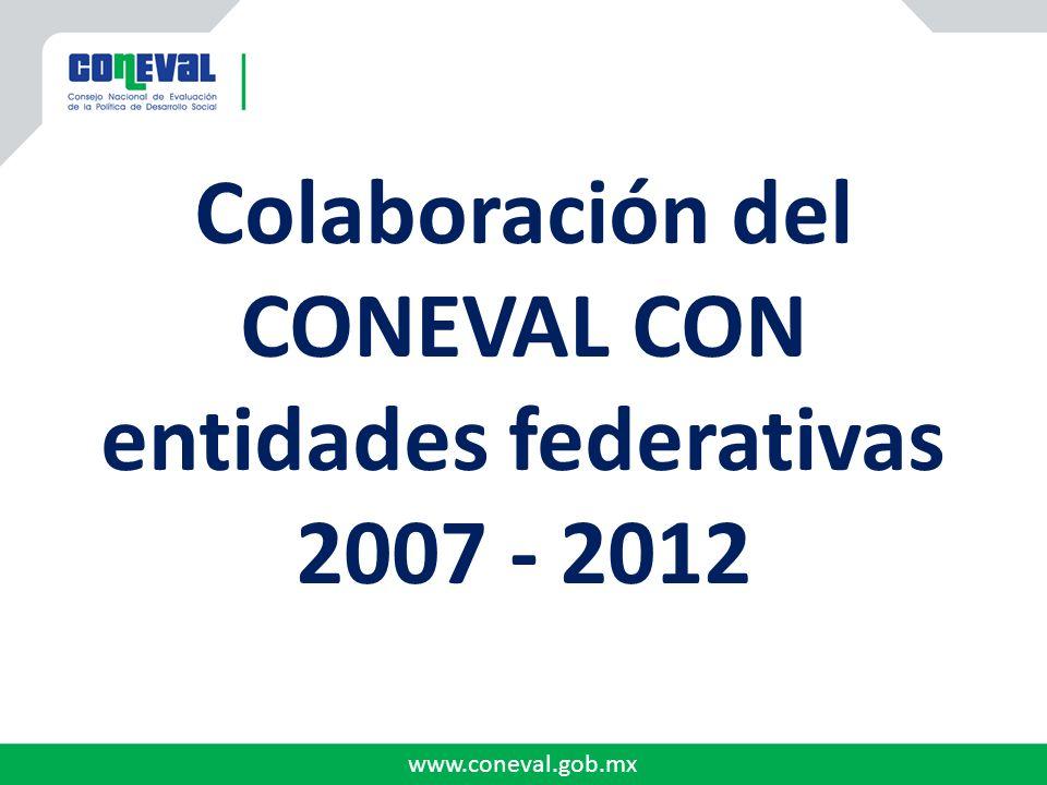 www.coneval.gob.mx Colaboración del CONEVAL CON entidades federativas 2007 - 2012