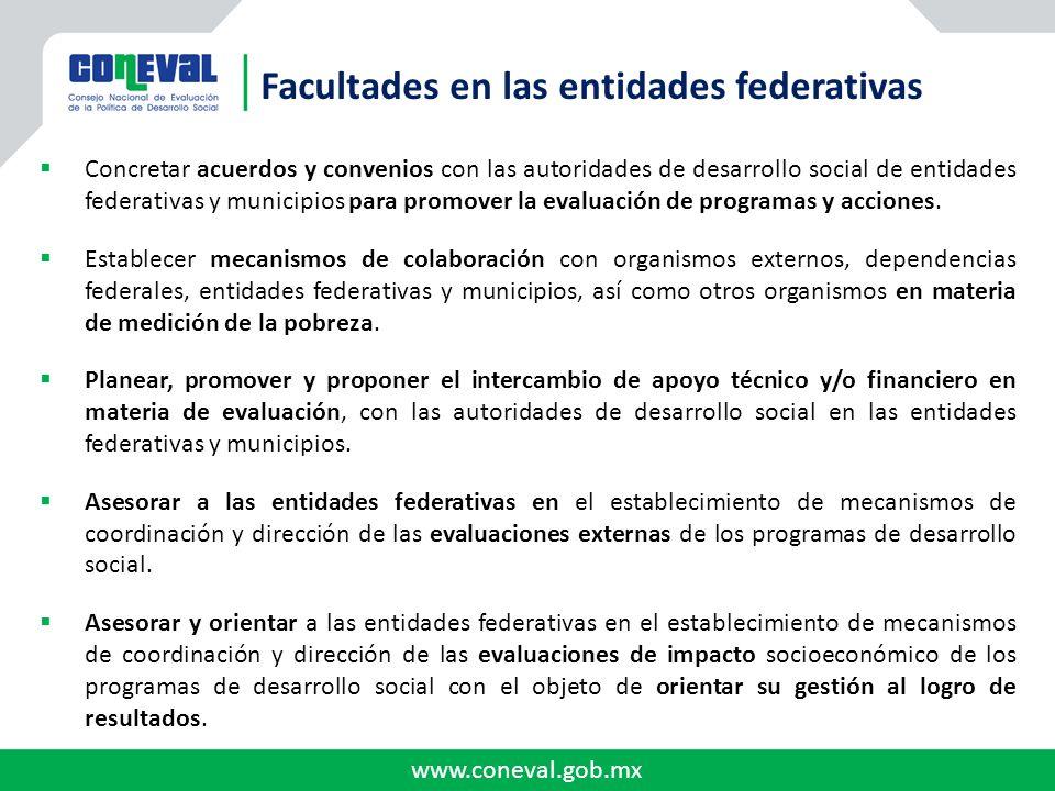 www.coneval.gob.mx Concretar acuerdos y convenios con las autoridades de desarrollo social de entidades federativas y municipios para promover la eval