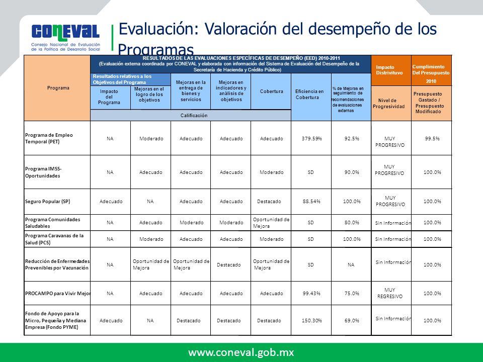 www.coneval.gob.mx Evaluación: Valoración del desempeño de los Programas Programa de Empleo Temporal (PET) NAModeradoAdecuado 379.59%92.5% MUY PROGRES
