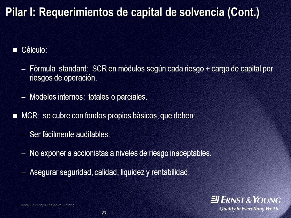 23 Global Solvency II Taskforce Training Pilar I: Requerimientos de capital de solvencia (Cont.) Cálculo: –Fórmula standard: SCR en módulos según cada riesgo + cargo de capital por riesgos de operación.