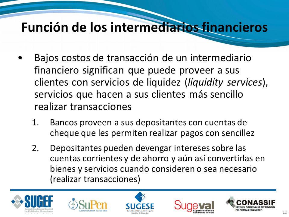 Función de los intermediarios financieros Bajos costos de transacción de un intermediario financiero significan que puede proveer a sus clientes con s