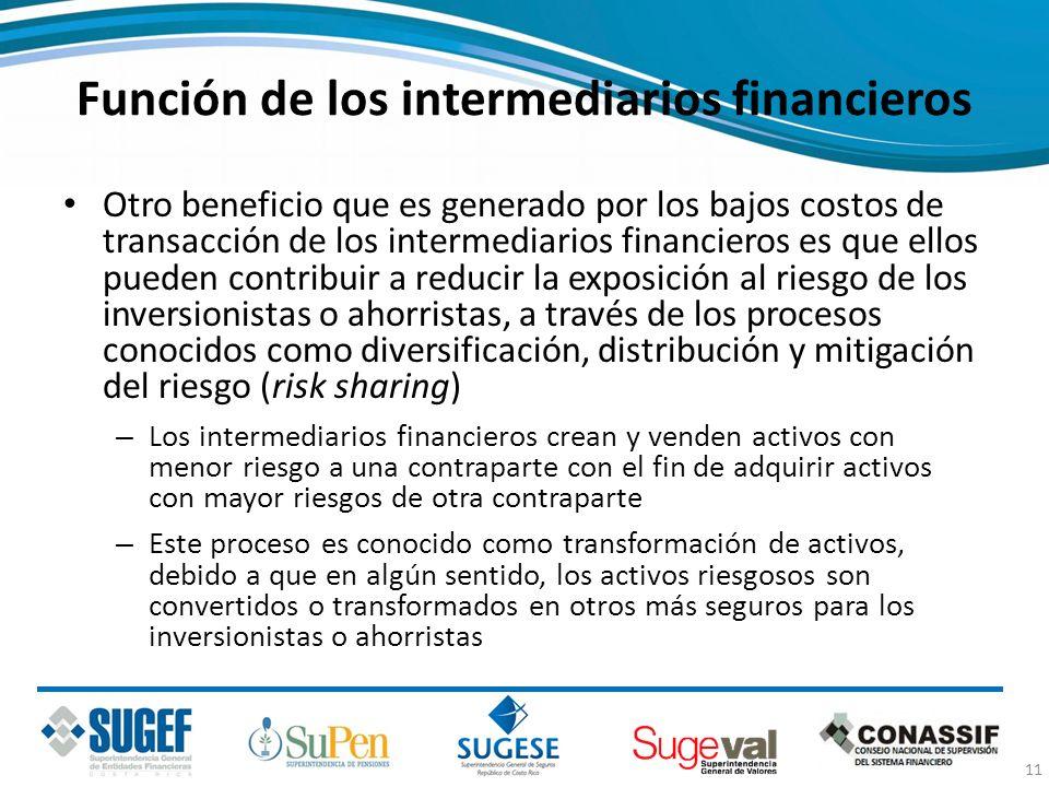 Función de los intermediarios financieros Otro beneficio que es generado por los bajos costos de transacción de los intermediarios financieros es que