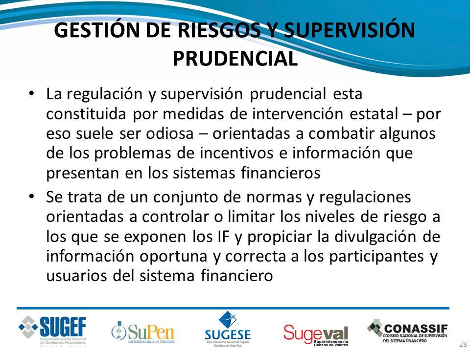 GESTIÓN DE RIESGOS Y SUPERVISIÓN PRUDENCIAL La regulación y supervisión prudencial esta constituida por medidas de intervención estatal – por eso suel