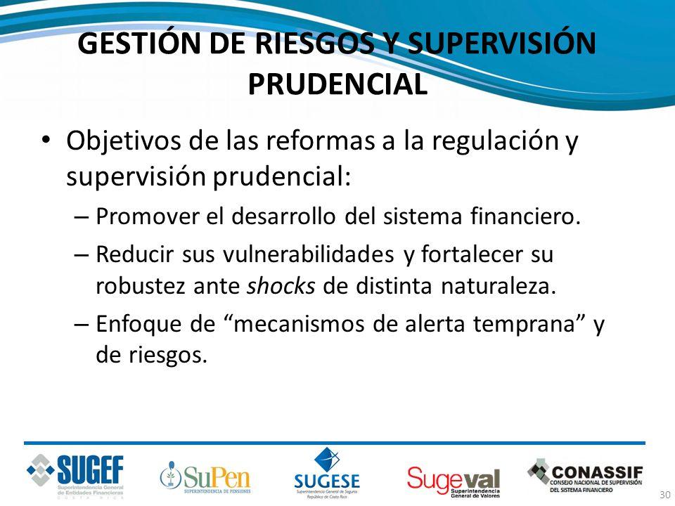 GESTIÓN DE RIESGOS Y SUPERVISIÓN PRUDENCIAL Objetivos de las reformas a la regulación y supervisión prudencial: – Promover el desarrollo del sistema f