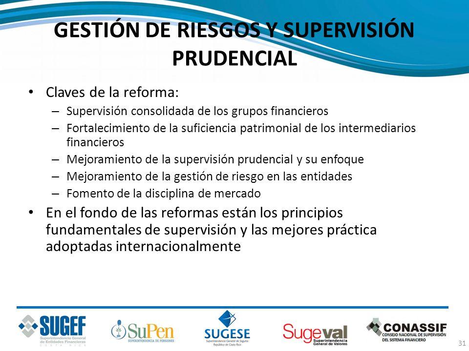 GESTIÓN DE RIESGOS Y SUPERVISIÓN PRUDENCIAL Claves de la reforma: – Supervisión consolidada de los grupos financieros – Fortalecimiento de la suficien