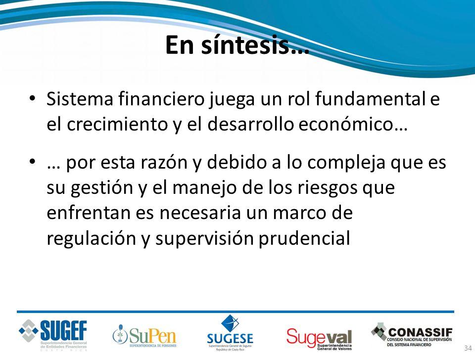 En síntesis… Sistema financiero juega un rol fundamental e el crecimiento y el desarrollo económico… … por esta razón y debido a lo compleja que es su