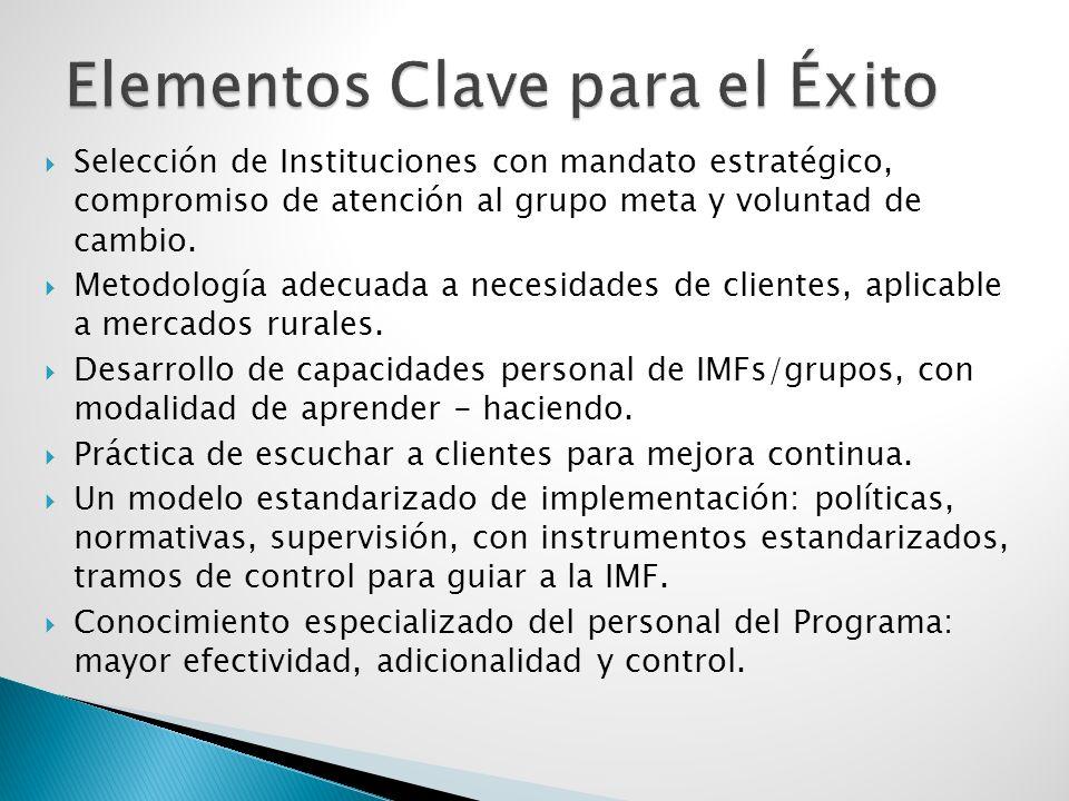 Selección de Instituciones con mandato estratégico, compromiso de atención al grupo meta y voluntad de cambio.