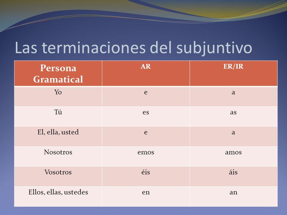 Las terminaciones del subjuntivo Persona Gramatical ARER/IR Yoea Túesas El, ella, ustedea Nosotrosemosamos Vosotroséisáis Ellos, ellas, ustedesenan