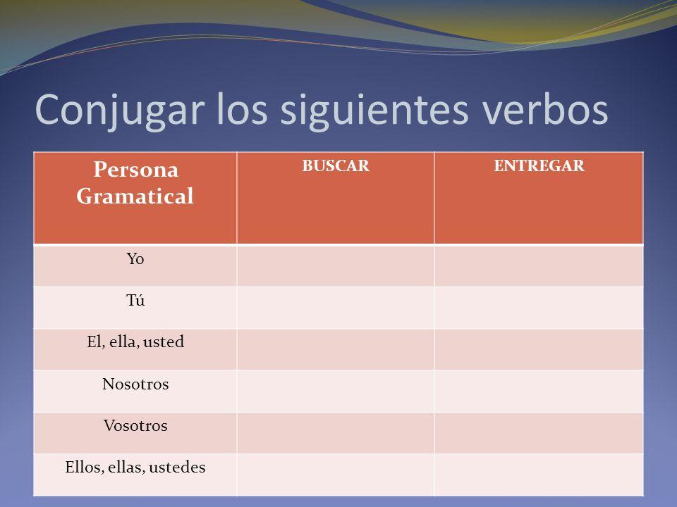 Conjugar los siguientes verbos Persona Gramatical BUSCARENTREGAR Yo Tú El, ella, usted Nosotros Vosotros Ellos, ellas, ustedes