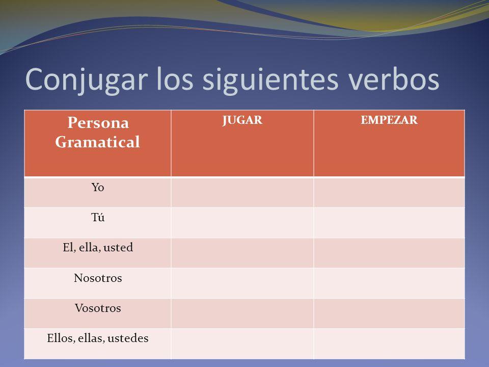 Conjugar los siguientes verbos Persona Gramatical JUGAREMPEZAR Yo Tú El, ella, usted Nosotros Vosotros Ellos, ellas, ustedes
