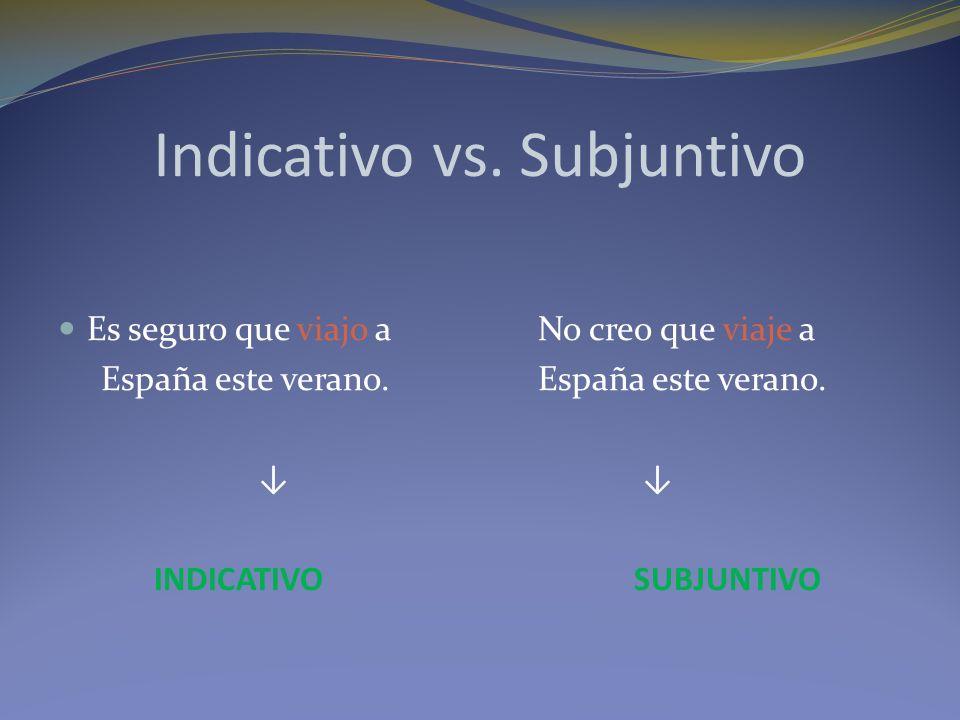 Indicativo vs. Subjuntivo Es seguro que viajo a No creo que viaje a España este verano.España este verano. INDICATIVOSUBJUNTIVO