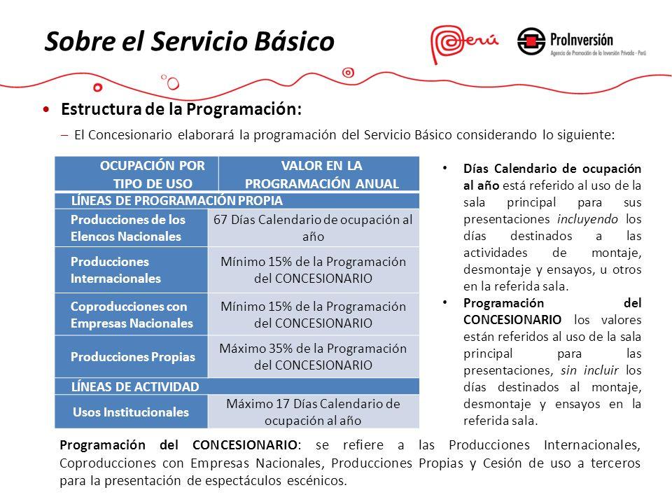 Estructura de la Programación: –El Concesionario elaborará la programación del Servicio Básico considerando lo siguiente: Sobre el Servicio Básico OCU